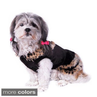 Anima Black Pet Puppy Dog Dress With Brown Leopard Trim