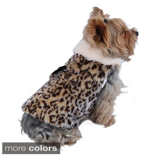 Insten Brown Pet Puppy Dog Plush Leopard Vest with Ultra Soft Fleece Lining