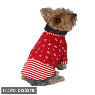 Anima Red Pet Puppy Dog Soft Light Cotton Fabric Crown Striped Skirt Dress