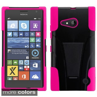 Insten Plain Hard PC/ Silicone Dual Layer Hybrid Phone Case Cover with Stand For Nokia Lumia 735