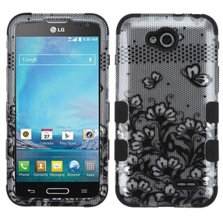 Insten Black Lace Flowers Tuff Hard PC/ Silicone Dual Layer Hybrid Rubberized Matte Phone Case Cover For LG Optimus L90