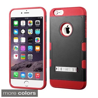 Insten Plain Hard PC/ Silicone Dual Layer Hybrid Rubberized Matte Phone Case Cover with Stand For Apple iPhone 6 Plus