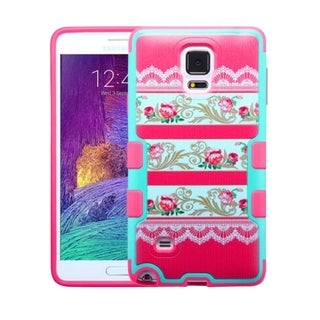Insten Hot Pink/ Teal Damask Flower Tuff Merge Hard Snap-on Rubberized Matte Phone Case Cover For Samsung Galaxy Note 4