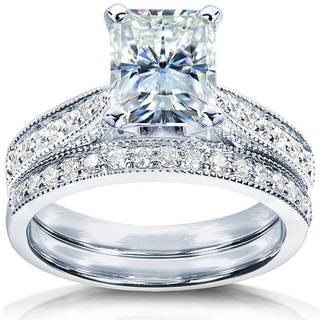 Annello by Kobelli 14k White Gold 2 1/8ct TGW Radiant-cut Forever Brilliant Moissanite and Diamond Vintage Bridal Set
