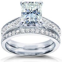 Annello by Kobelli 14k White Gold 2 1/8ct TGW Radiant-cut Moissanite (FG) and Diamond Vintage Bridal Set