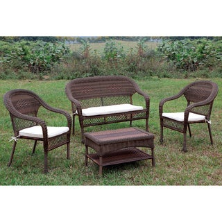 Furniture of America Koralie 4-piece Brown Wicker Inspired Patio Set