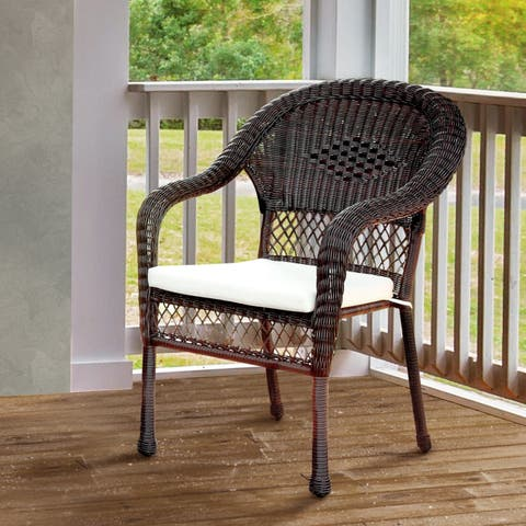 Furniture of America Koralie Brown Weather Resistant Wicker Arm Chair