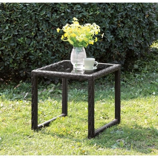 Furniture of America Riley Espresso Wicker Inspired Side Table