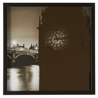 Big Ben Silk Screen on Glass Shadow Box Wall Art