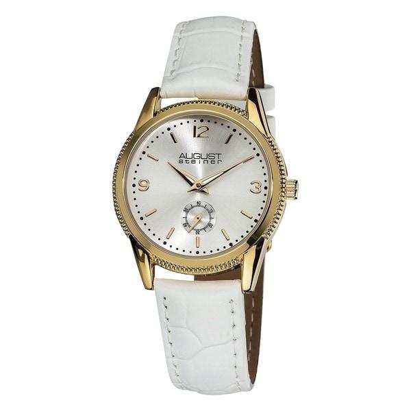 August Steiner Women's Swiss Quartz Leather White Watch