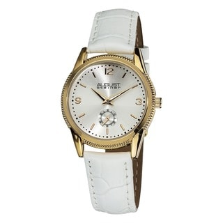 August Steiner Women's Swiss Quartz Leather White Watch