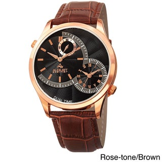 August Steiner Men's Swiss Quartz Multifunction Dual Time Leather Strap Watch (Option: Rose-tone/Brown)
