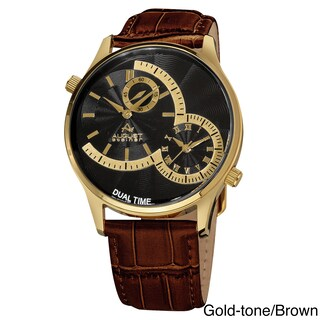 August Steiner Men's Swiss Quartz Multifunction Dual Time Leather Strap Watch (Option: Gold-tone/Brown)