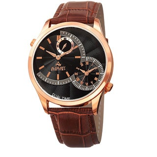 August Steiner Men's Swiss Quartz Multifunction Dual Time Leather Gold-Tone Strap Watch