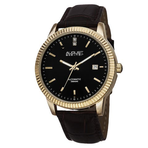 August Steiner Men's Diamond Automatic Leather Gold-Tone Strap Watch
