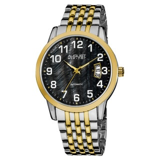 August Steiner Men's Automatic Mother of Pearl Date Display Two-Tone Bracelet Watch