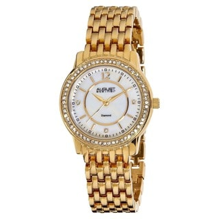 August Steiner Women's Swiss Quartz Diamond Base Metal Gold-Tone Bracelet Watch