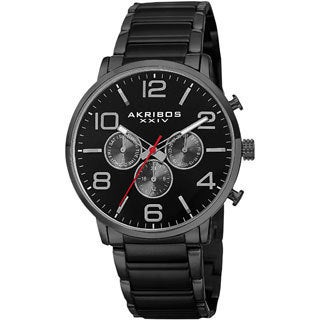 Akribos XXIV Men's Swiss Quartz Multifunction Dual Time Stainless Steel Black Bracelet Watch