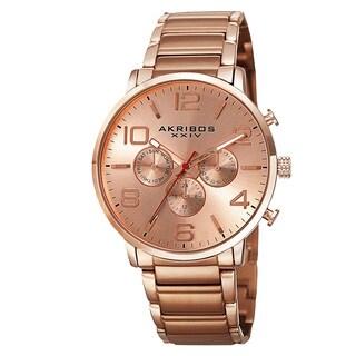 Akribos XXIV Men's Swiss Quartz Multifunction Dual Time Stainless Steel Rose-Tone Bracelet Watch