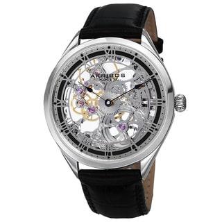 Akribos XXIV Men's Mechanical Skeletal Roman Numeral Markers Leather Silver-Tone Strap Watch
