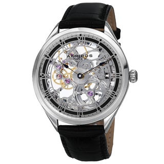 Akribos XXIV Men's Mechanical Skeletal Roman Numeral Markers Leather Silver-Tone Strap Watch