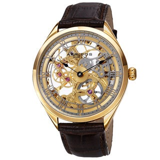 Akribos XXIV Men's Mechanical Skeletal Roman Numeral Markers Leather Gold-Tone Strap Watch