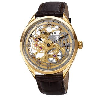 Akribos XXIV Men's Mechanical Skeletal Roman Numeral Markers Leather Gold-Tone Strap Watch with FREE GIFT|https://ak1.ostkcdn.com/images/products/9969759/P17122662.jpg?impolicy=medium
