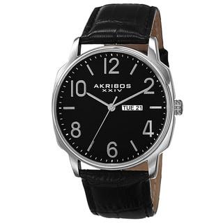 Akribos XXIV Men's Quartz Day/Date Display Leather Silver-Tone Strap Watch