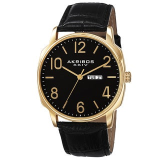 Akribos XXIV Men's Quartz Day/Date Display Leather Gold-Tone Strap Watch