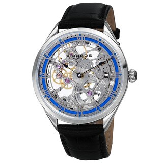Akribos XXIV Men's Mechanical Skeletal Roman Numeral Markers Leather Blue Strap Watch