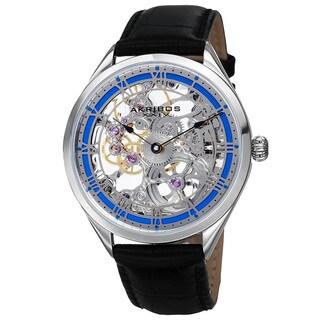Akribos XXIV Men's Mechanical Skeletal Roman Numeral Markers Leather Blue Strap Watch