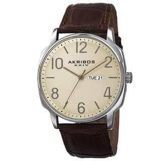 Akribos XXIV Men's Quartz Day/Date Display Leather Brown Strap Watch