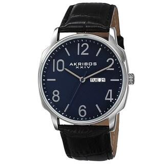 Akribos XXIV Men's Quartz Day/Date Display Leather Blue Strap Watch