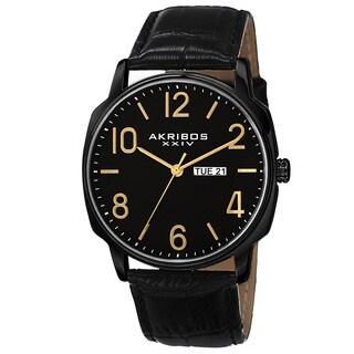 Akribos XXIV Men's Quartz Day/Date Display Leather Black Strap Watch