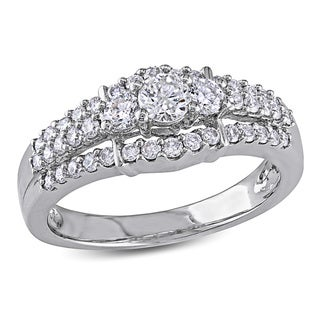 Miadora 14k White Gold 4/5ct TDW Diamond Engagement Ring