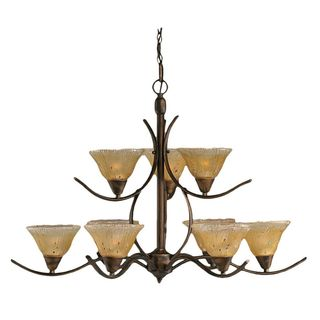 Cambridge 9-Light Bronze Chandelier with Amber Crystal Glass Shade