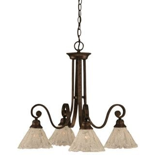 Cambridge 4-Light Bronze 24.5 in. Chandelier with Italian Ice Glass