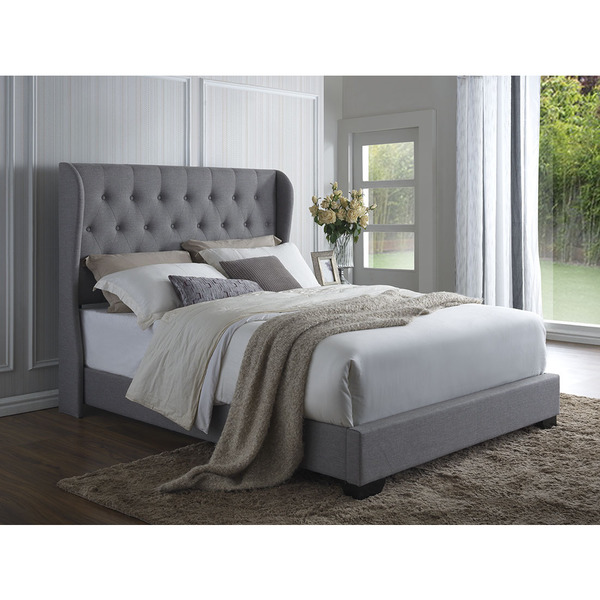 Dg casa exeter grey linen wingback bed free shipping for Bedroom ideas velvet bed