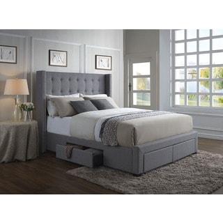 Gentil Oliver U0026 James Roth Grey Linen Wingback Storage Bed