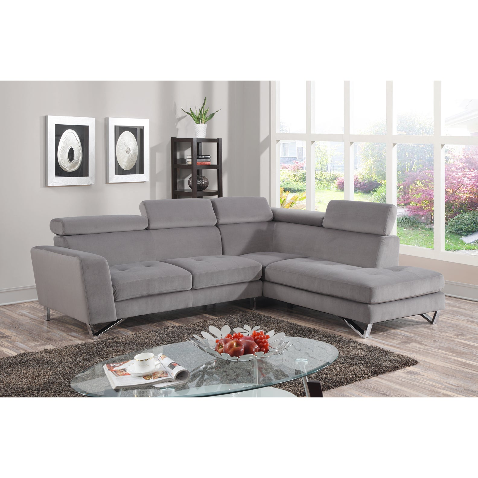 Gray microfiber sectional Sofas