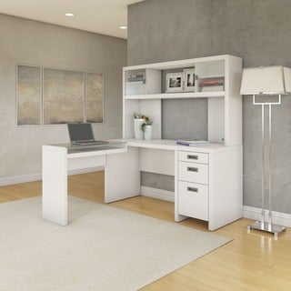 Kathy Ireland Office by Bush Furniture L-Desk and Hutch small office suite