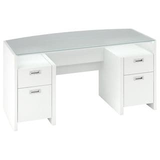kathy ireland Office New York Skyline 63 in. W Glass Top Plumeria White Executive Desk