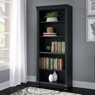 Bush Furniture Birmingham Antique Black 5-shelf Bookcase