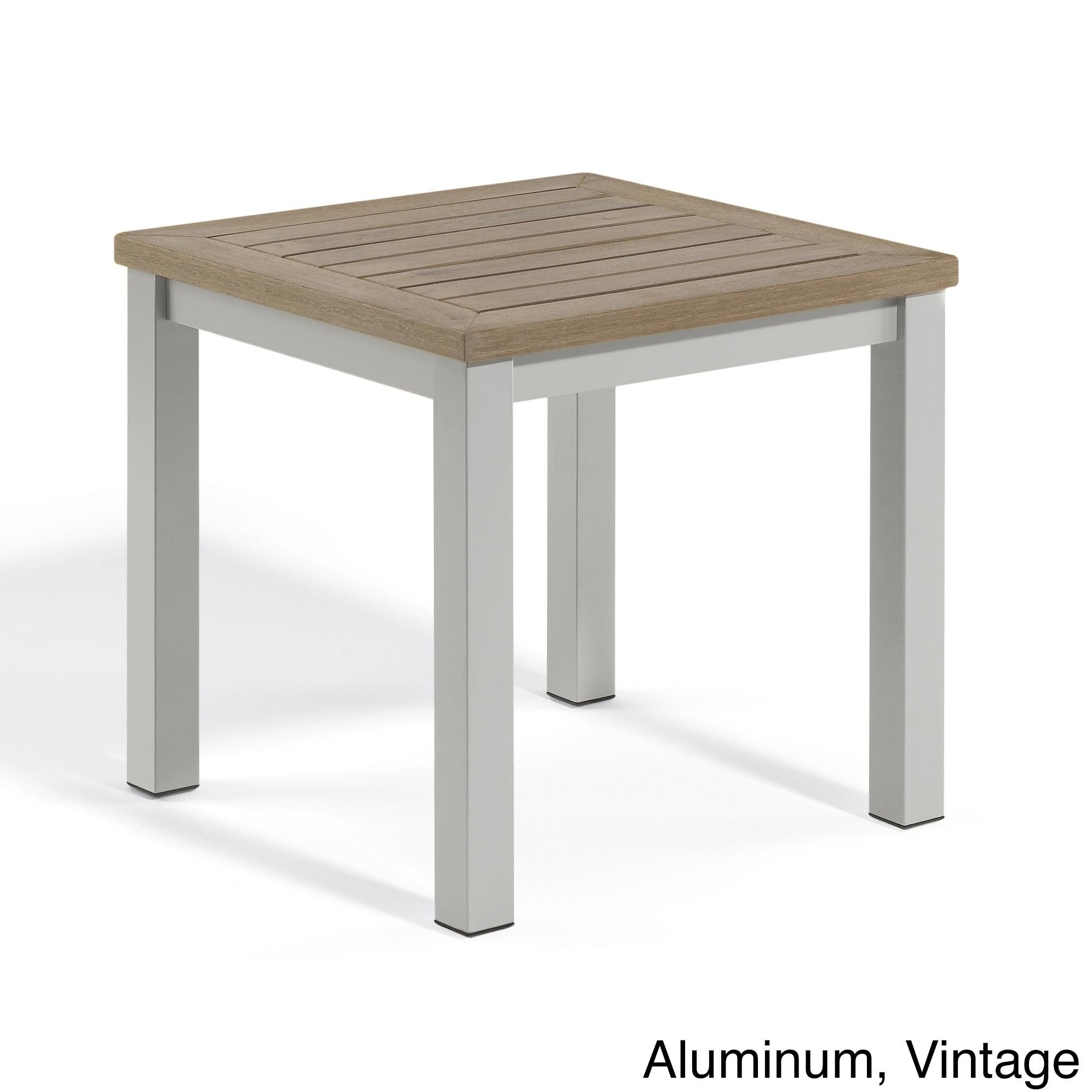 Oxford Garden Travira End Table (Aluminum/Vintage), Grey,...