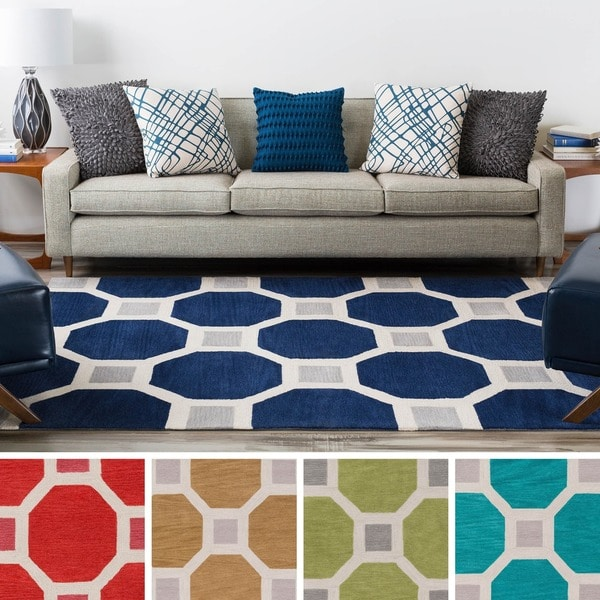 Hand-Tufted Crewe Moroccan Trellis Area Rug