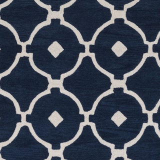 Hand-Tufted Grays Moroccan Trellis Rug (5' x 7'6)