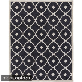Hand-Tufted Grays Moroccan Trellis Rug (7'6 x 9'6)