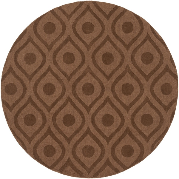 Hand-Loomed Sandy Geometric Wool Rug (6' Round)