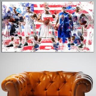 Design Art 'USA Basketball' Canvas Art Print - 32 in. wide x 16 in. high