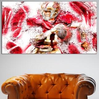 Design Art 'Football Go Long' Canvas Art Print